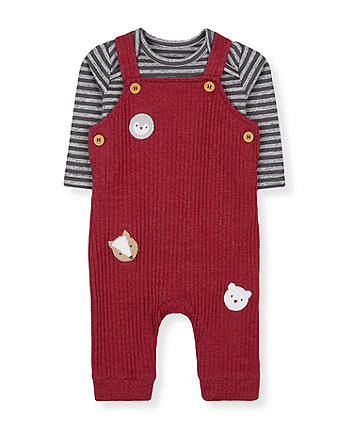 Mothercare Red Animal Brushed Rib Dungarees And Grey Stripe Bodysuit Set