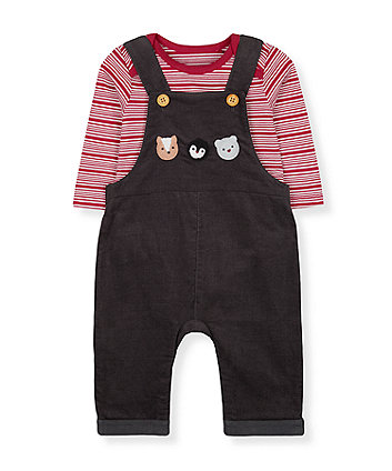 Mothercare Animals Cord Dungarees And Stripe Bodysuit Set
