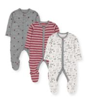 Mothercare Winter Animals, Stripes And Stars Sleepsuits - 3 Pack