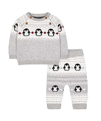 Mothercare Penguin Knitted Jumper And Joggers Set