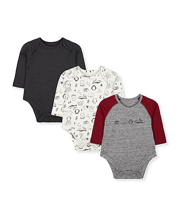 Mothercare Long-Sleeved Bodysuits - 3 Pack