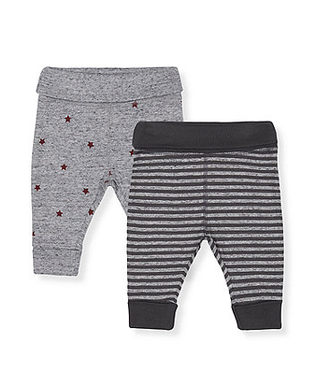 Mothercare Grey Star And Stripe Joggers - 2 Pack