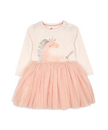 Mothercare Fashion Pink Glitter Unicorn Mesh Twofer Dress