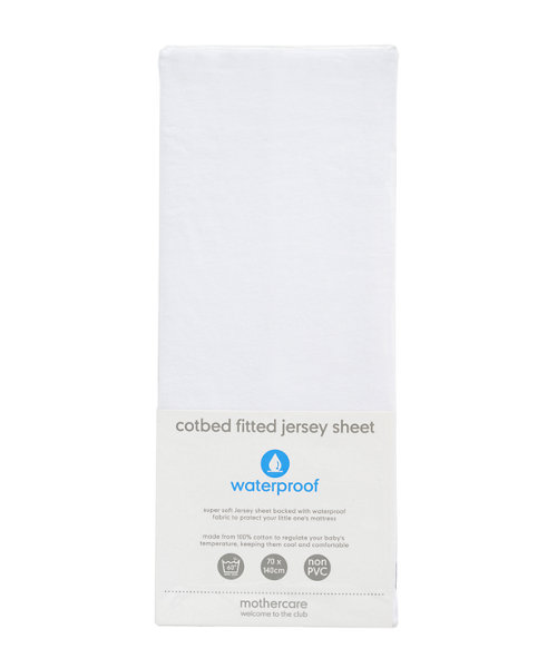 Mothercare Waterproof Jersey Cotton Fitted Cotbed Sheet
