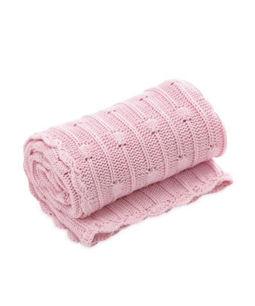 Mothercare Pom Pom Knitted Blanket Pink