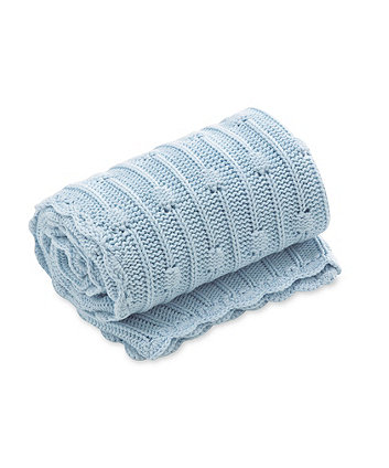 Mothercare Pom Pom Knitted Blanket Blue
