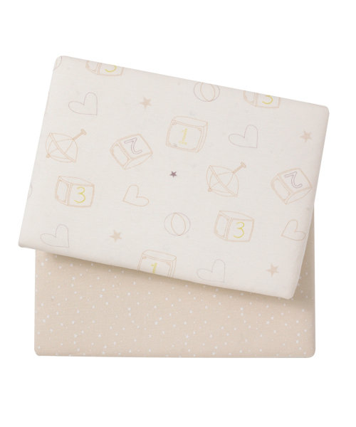 Mothercare Loved So Much Jersey Fitted Cot Sheets, 56 x 118cm - 2 Pack