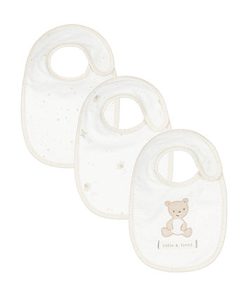 Mothercare Little And Loved Newborn Bibs - 3 Pack
