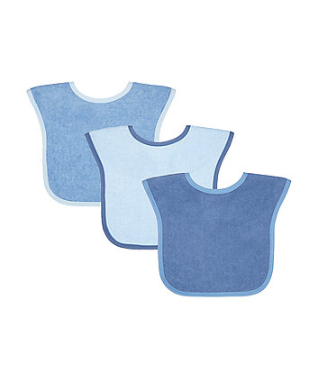 Mothercare Blue Towelling Bibs - 3 Pack