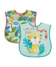 Mothercare Jungle Crumb Catcher Bibs - 2 Pack