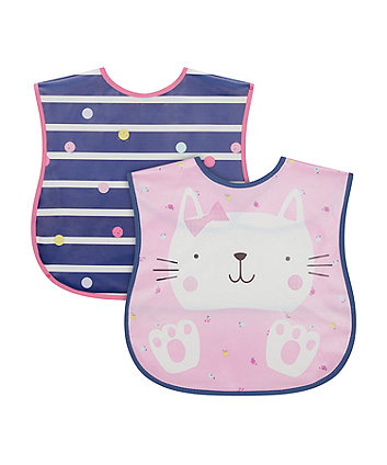 Mothercare Cat Crumbcatcher Bib - 2 Pack