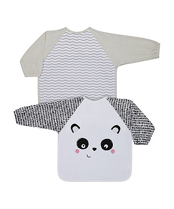 Mothercare Grey Panda Towelling Coverall Bibs - 2 Pack