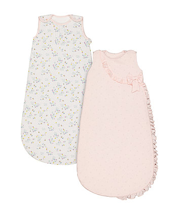 Mothercare Spring Flower Sleep Bags 1 Tog (0-6 Months) - 2 Pack