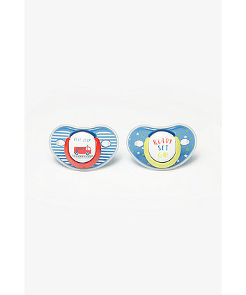 Mothercare Ready, Set, Go And Fire Engine Orthodontic Soothers 6 Months+ - 2 Pack