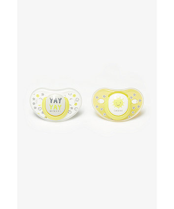Mothercare Yay And Sunshine Orthodontic Soothers 6 Months+ - 2 Pack