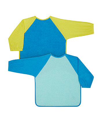 Mothercare Blue Colour Block Towelling Coverall Bibs - 2 Pack