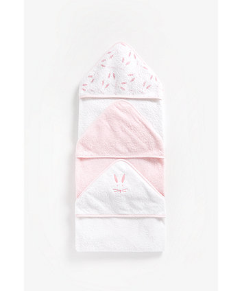 Mothercare Pink Cuddle 'N' Dry Hooded Towels - 3 Pack