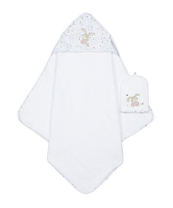 Mothercare Spring Flower Cuddle 'N' Dry And Mitt Set