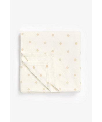 Mothercare Cot Or Cot Bed Fleece Blanket - Cream Dot
