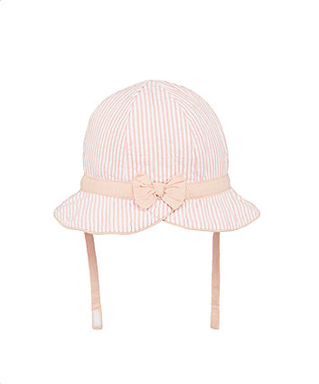 Mothercare My First Pink Striped Seersucker Hat