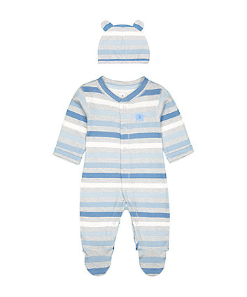 My First Grey Safari Elephant Stripe All In One And Hat Set [SS21]
