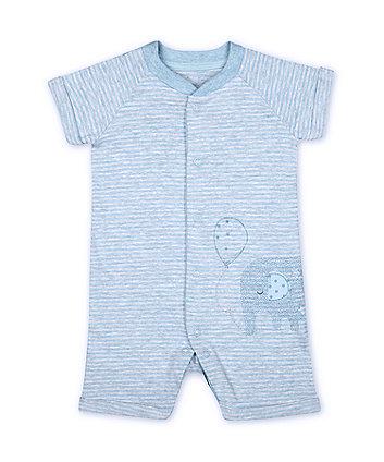 Mothercare Fashion My First Blue Striped Animal Safari Graphic Romper