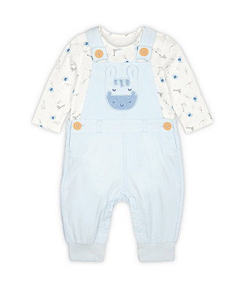 Mothercare My First Blue Safari Cord Dungarees And Bodysuit Set