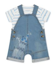Mothercare My First Denim Safari Bibshorts, Hat And Star Bodysuit Set