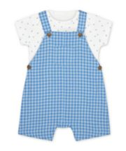 Mothercare My First Blue Check Bibshorts And Star Bodysuit Set