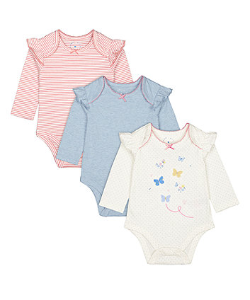 Mothercare Butterfly, Pink Stripe And Blue Bodysuits - 3 Pack