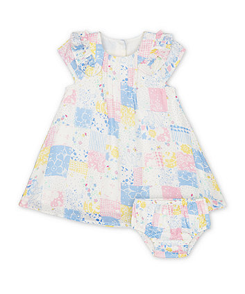 Mothercare Spring Flower Patchwork Dress And Bloomers Set