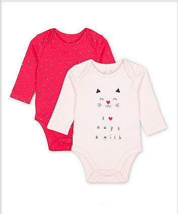 Mothercare Fashion Pink Cat Naps And Hearts Bodysuits - 2 Pack