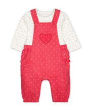 Mothercare Pink Ruffle Cord Dungarees And Heart Bodysuit Set