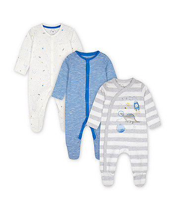 Mothercare Space Dinosaur Sleepsuits - 3 Pack