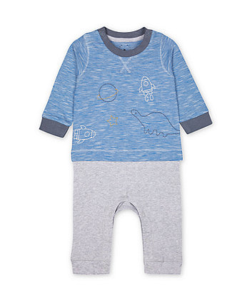 Mothercare Space Dinosaur Mock-Top Ribbed All In One
