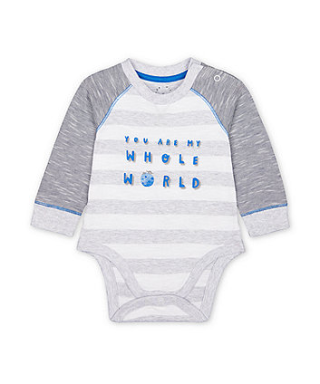Mothercare Space Dinosaur You Are My World Striped Bodysuit
