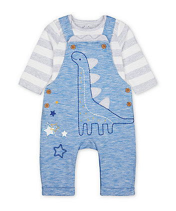 Mothercare Blue Dinosaur Dungarees And Striped Bodysuit Set
