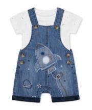 Mothercare Denim Rocket Bibshorts And White Space Dinosaur Bodysuit Set
