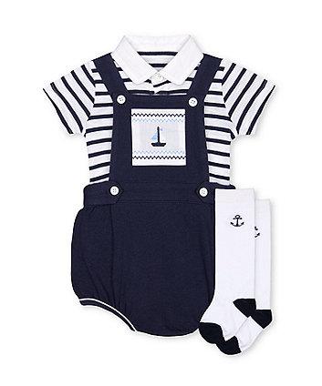 Mothercare Fashion Heritage Bibshorts, Bodysuit And Socks