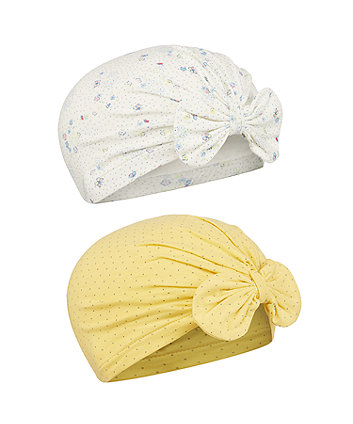 Mothercare Fashion Yellow Spot And Floral Bow Hats - 2 Pack