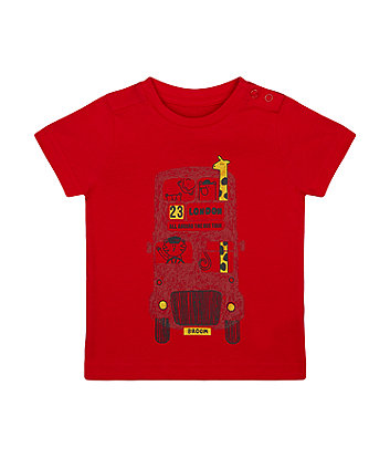 Mothercare Red London Double-Decker Bus Animal T-Shirt
