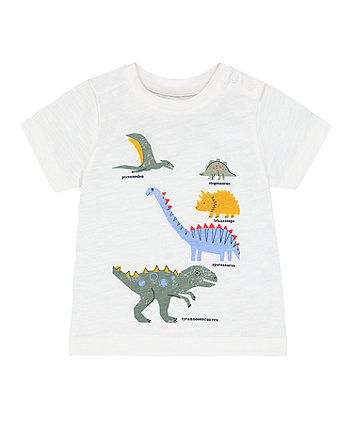 Mothercare White Dinosaur Species T-Shirt