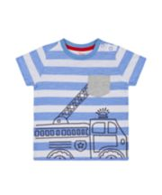 Mothercare Blue Striped Fire Engine T-Shirt