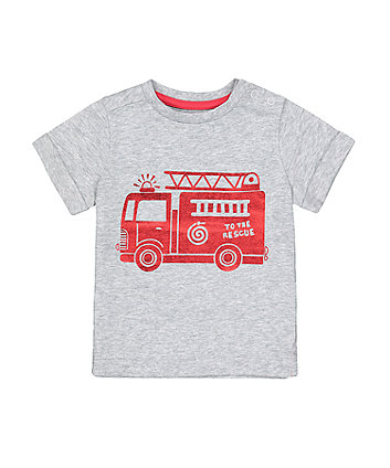 Mothercare Grey Foil Fire Engine T-Shirt