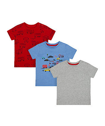 Mothercare Fire Engine T-Shirts - 3 Pack
