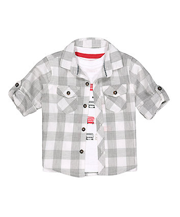 Mothercare Grey Checked Shirt And T-Shirt Set