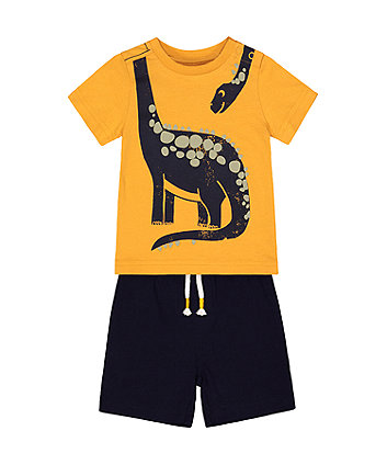 Mothercare Yellow Dinosaur Shorts And T-Shirt Set