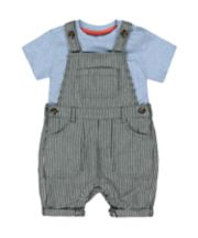 Mothercare Striped Denim Bibshorts And T-Shirt Set