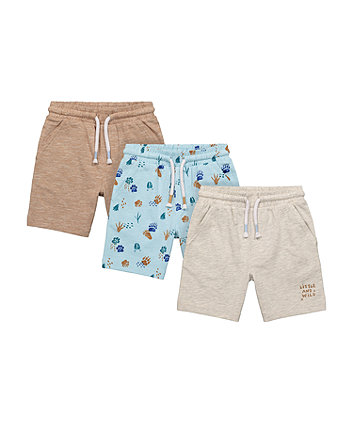 Mothercare Little And Wild, Paw Print And Brown Shorts - 3 Pack
