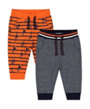 Mothercare Orange And Grey Joggers - 2 Pack